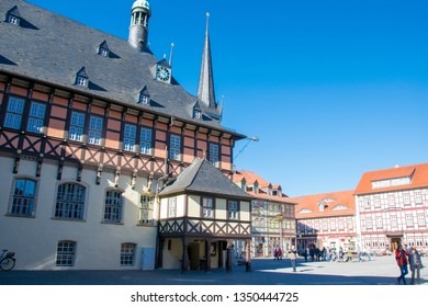 WERNIGERODE, GERMANY - FEBRUARY 24, 2019- Historical colorful city centre of Wernigerode, Harz