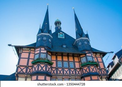 WERNIGERODE, GERMANY - FEBRUARY 24, 2019- Historical colorful town hall in the old town of Wernigerode, Harz