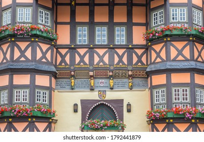 WERNIGERODE, GERMANY - JULY 04, 2020: Facade of the historic town hall of Wernigerode, Germany