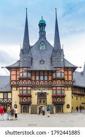 WERNIGERODE, GERMANY - JULY 04, 2020: Historic colorful town hall on the market square of Wernigerode, Germany
