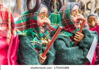 WERNIGERODE, GERMANY - JULY 04, 2020: Traditional witch puppets in a souvenir shop in Wernigerode, Germany