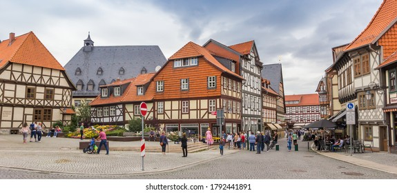 WERNIGERODE, GERMANY - JULY 04, 2020: Panorama of the historic city center of Wernigerode, Germany