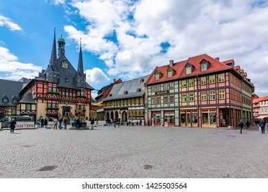 Wernigerode, Germany - May 2019: Market square with Town Hall