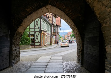 WERNIGERODE, GERMANY – MAY 23, 2019: View through the Westerntor to the old town of Wernigerode in the Harz Mountains