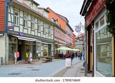 WERNIGERODE, GERMANY – MAY 23, 2020: Shopping street with tourists in the historic old town of Wernigerode in the Harz Mountains
