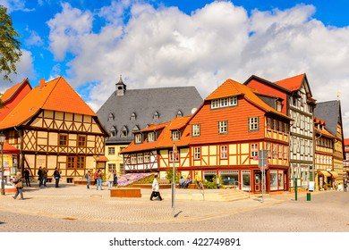 WERNIGERODE, GERMANY - MAY 4, 2015: Colorful houses in Wernigerode, Germany. Wernigerode was the capital of the district of Wernigerode until 2007