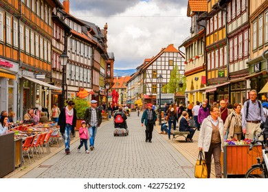 WERNIGERODE, GERMANY - MAY 4, 2015: Architecture in Wernigerode, Germany. Wernigerode was the capital of the district of Wernigerode until 2007