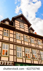 WERNIGERODE, GERMANY - MAY 4, 2015: Houses of different colours in Wernigerode, Germany. Wernigerode was the capital of the district of Wernigerode until 2007