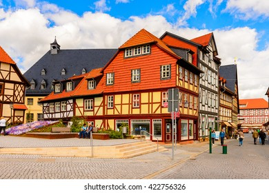 WERNIGERODE, GERMANY - MAY 4, 2015: Typical colorful architecture in Wernigerode, Germany. Wernigerode was the capital of the district of Wernigerode until 2007