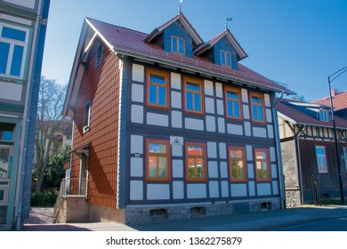 WERNIGERODE, HARZ, GERAMNY - FEBRUARY 23, 2019: Typical historic houses in the city centre of Wernigerode, Harz, Germany