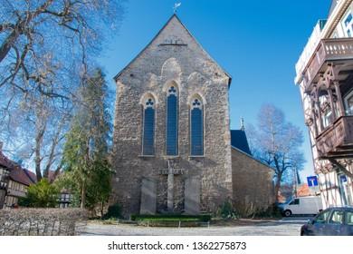 WERNIGERODE, HARZ, GERMANY  - FEBRUARY 23, 2019: Liebfrauen church in Wernigerode on a sunny, winter day, Harz, Germany