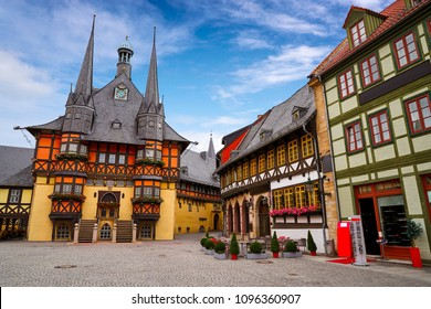 Wernigerode Rathaus Stadt city hall in Harz Germany - Shutterstock ID 1096360907