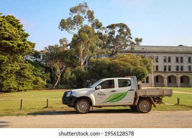 Werribee, Vic Australia - March 19 2021: Werribee Mansion buildings with Parks Victoria vehicle ute