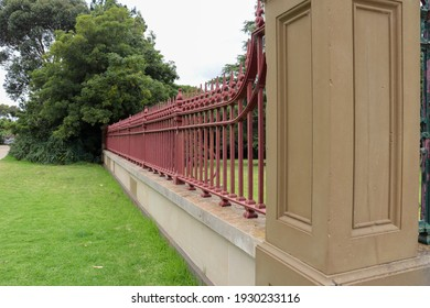 Werribee, Vic Australia - March 5 2021: Historic ornate stone and steel fence at Werribee Park