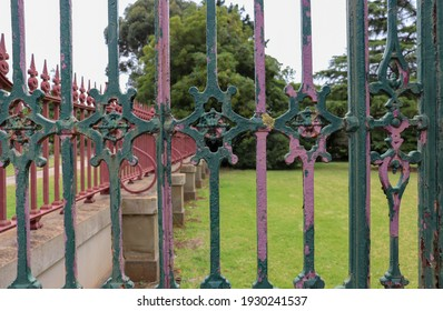 Werribee, Vic Australia - March 5 2021: Ornate historic fence at entrance to Werribee Park