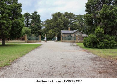 Werribee, Vic Australia - March 5 2021: Historic building at front entrance to Werribee Park
