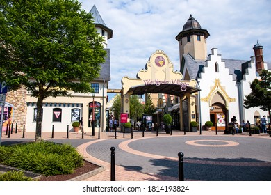 Wertheim am Main, Germany - June 02, 2017: Wertheim Village is outdoor shopping mall with village-inspired layout featuring over a hundred outlet stores from popular brands.