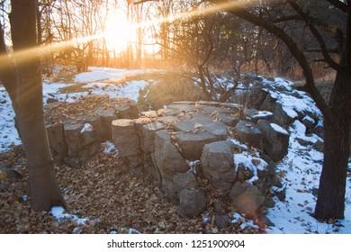 Werwolf, ruins of Adolf Hitler's headquarters, blast resistant concrete bunker, now historical and memorial complex of Nazism victims, Stryzhavka, Vinnytsia region, Ukraine, 28.10.2014