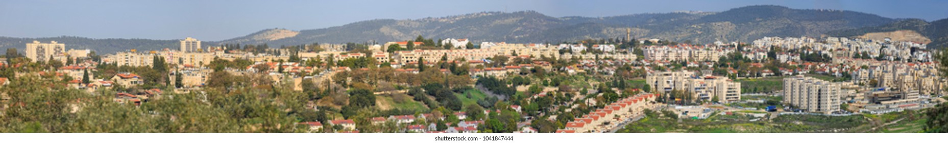 Wery wide panorama south side of Beit Shemesh city