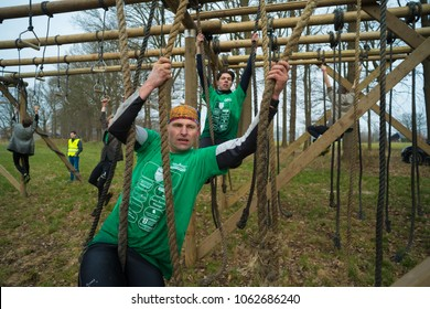 WESEPE, NETHERLANDS - MARCH 25, 2018: Unknown athlete doing the 20th Wesepe survival run, also the final edition.