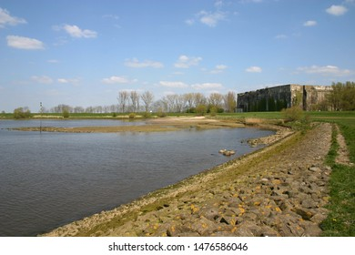 The Weser in Bremen Farge with bunker complex