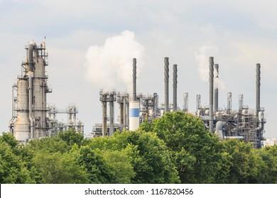 Wesseling, Köln, Germany - June 14 2014: Chemical plants at the compound of LyondellBasell Polyolefine Ltd.