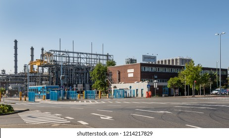 Wesseling, Köln, Germany - September 10 2016: Main gate to the chemical plants of LyondellBasell, Wesseling