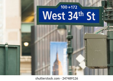 West 34th street sign in New York City.