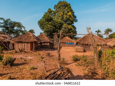 West africa Guinea Bissau - West africa Guinea Bissau Bijagos Islands - a traditional African village, houses with palm leave
