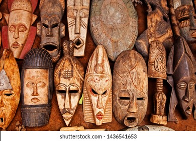 West African Art Masks on Display at at Outdoor Market in Accra Ghana