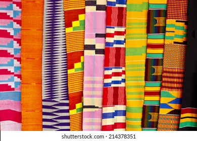 West African Fabric at an outdoor market in Accra Ghana