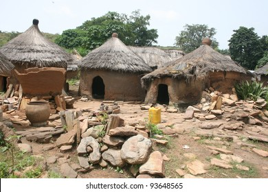 A  West African tribal village made from mud and dung is typical of the local architecture , in Benin