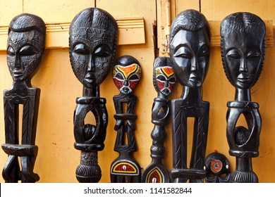 West African Wood Carvings at an Outdoor Market in Accra Ghana