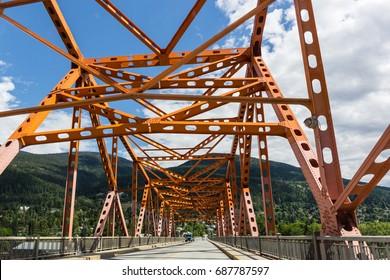 West Arm Bridge (Big Orange Bridge) over Kootenay River in Nelson, BC, Canada