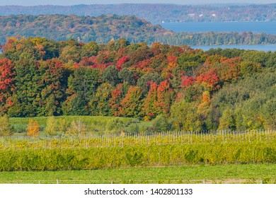 West Arm of Grand Traverse Bay from high of Old Mission Peninsula in the fall.