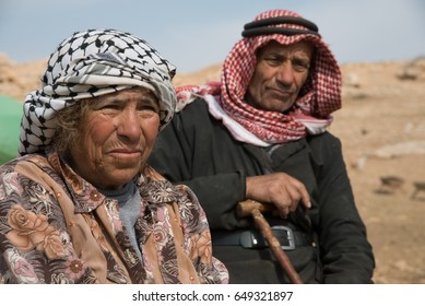 WEST BANK - JANUARY 22: Elderly residents remain in the Jordan Valley village of Kirbet Makhoul, West Bank, which as been twice demolished by the Israeli army, January 22, 2014.