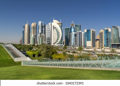 West Bay on the Corniche of Doha in Qatar