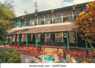 West Bengal, India, December 25,2018: Heritage building and former residential house of eminent Bengali novelist Sarat Chandra Chattopadhyay at Deulti West Bengal is a popular tourist attraction.