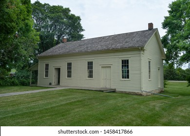 West Branch, Iowa, USA July 13, 2019, Friends meetinghouse where Herbert Hoover's family attended Quaker services