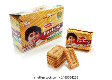 """""""West Chester,PA /USA - August 20 2019 :Parle G biscuits from India"""" isolated on white"""