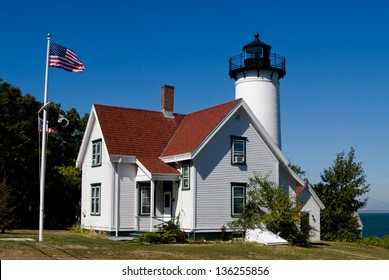 West Chop Lighthouse in Martha's Vineyard, Massachusetts, a popular attraction for tourists in the summertime.