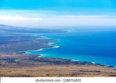 West Coast Hawaii seen from Kohala Mountain Road
