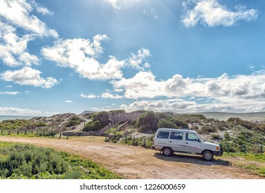 WEST COAST NATIONAL PARK, SOUTH AFRICA, AUGUST 20, 2018: The toilets at Plankiesbaai in Postberg near Langebaan on the Atlantic Ocean coast of the Western Cape Province. A vehicle is visible