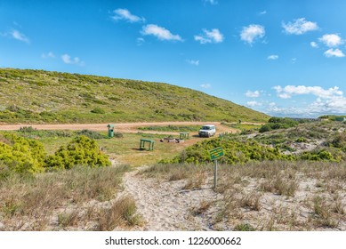 WEST COAST NATIONAL PARK, SOUTH AFRICA, AUGUST 20, 2018: A picnic and camping area at Plankiesbaai in Postberg near Langebaan on the Atlantic Ocean coast. A vehicle is visible