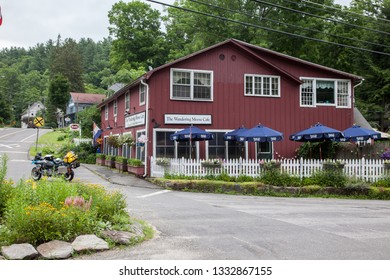 WEST CORNWALL, CT, USA - JULY 15, 2015. The Wandering Moose Cafe near  West Cornwall Covered Bridge.