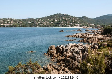 West Corsica French island, wild coastal landscape with stones