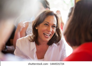 West Des Moines, Iowa - July 3, 2019. Presidential Candidate Senator Kamala Harris (D-California) speaks at the West Des Moines Democrat's Picnic at Legion Park in West Des Moines, Iowa.