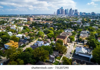 West of downtown suburb near Montrose with the downtown skyline of Houston , Texas in the distance