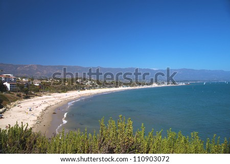 West, East and Ledbetter beaches in Santa Barbara, California. Panoramic view.
