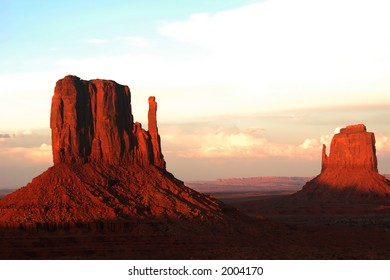 West and East Mittens at sunset, Monument Valley, Arizona